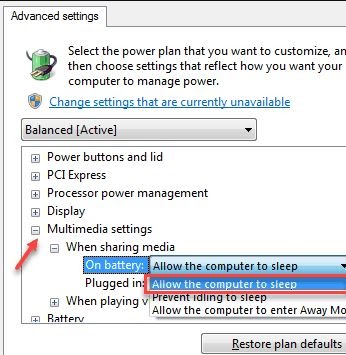 Extend Mult-Media Setting Option and After Locate The When Sharing Media Option and Expand It
