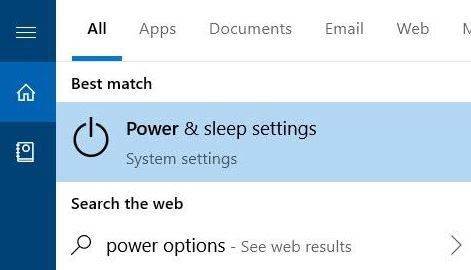 Type Power Options In Search Box and Choose Best Match