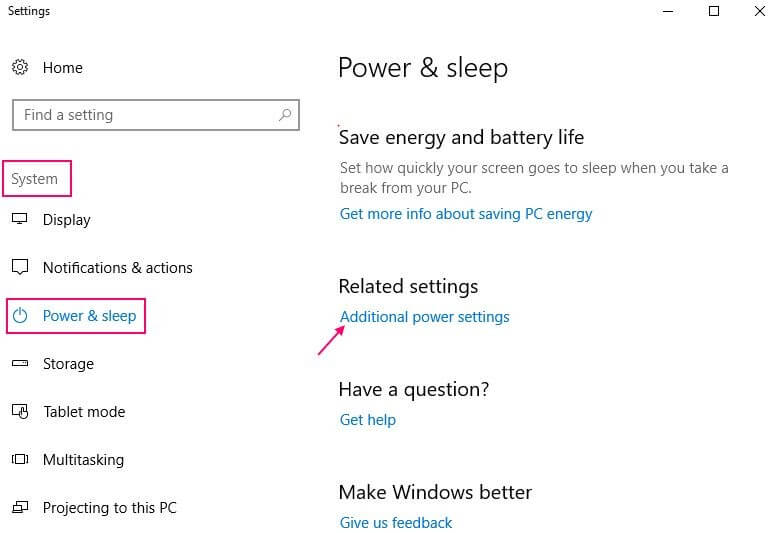 Click On Advanced Power Settings From Left-Pane Side