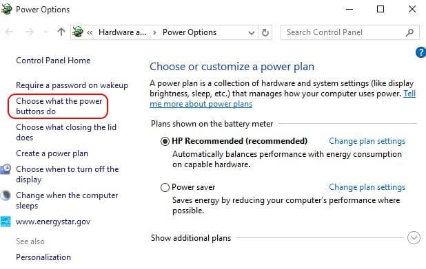 Click On Choose What Power Button Do