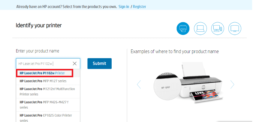 In Search Box Type The Name Of Your Printer