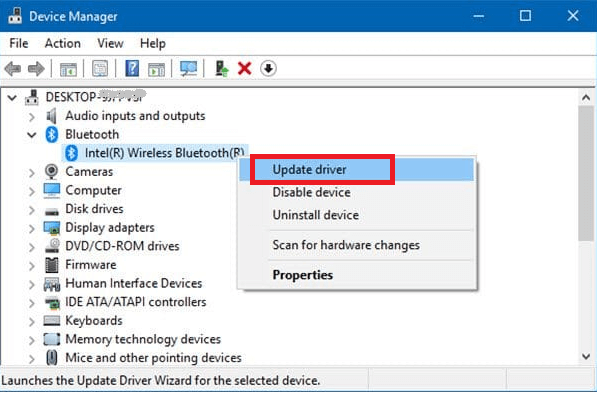 Select Update Driver Option To Update Bluetooth Driver Windows 10