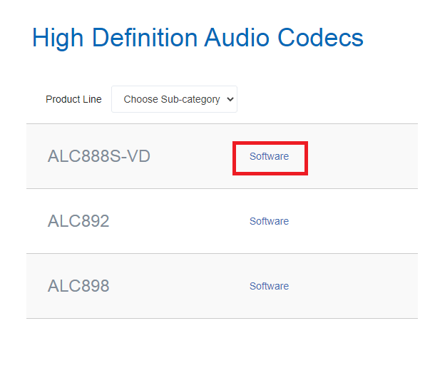 Click On Software Link Next To Your Sound Card