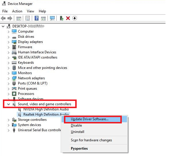 Right Click On Realtek High Definition Audio and Select Update Driver Software Option