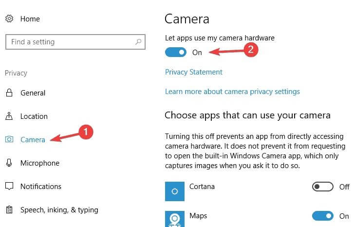 Choose Apps For Which You Want To Enable Webcam Permission