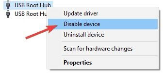 Find USB Root Hub and Then Right Click On It and Select Disable From Menu