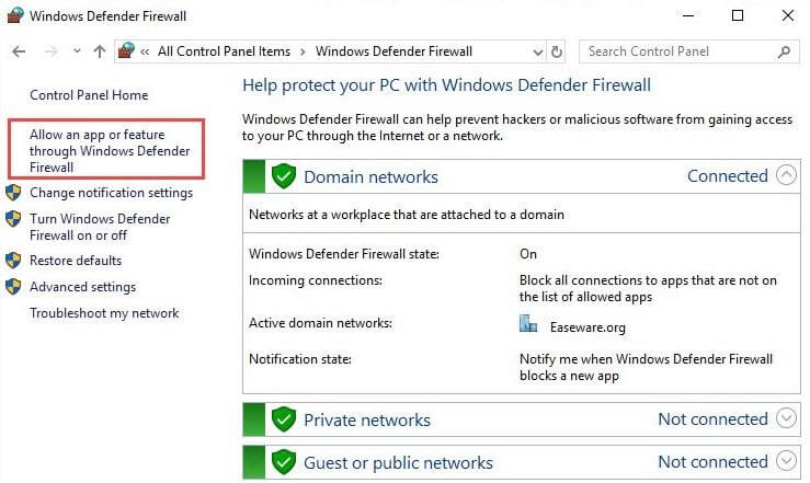 Click On Allow App Or Feature Through Windows Defender Firewall