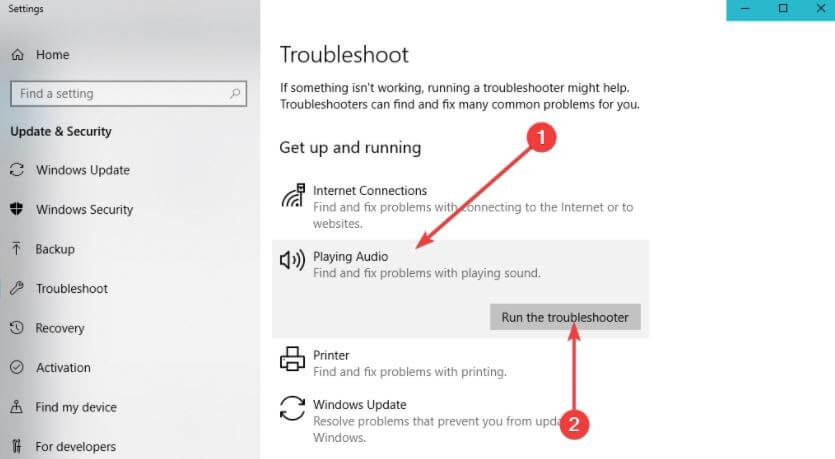 Click On Playing Audio Option Then Click On Run the Troubleshooter