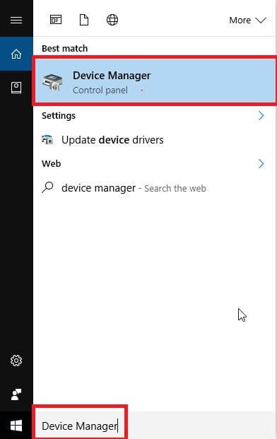 Type Device Manager and Select Best Match From Appeared Search Result