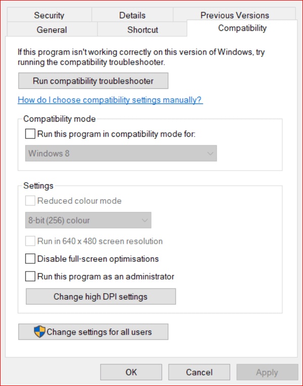 Choose Compatibility tab and hit Disable Full-Screen Optimizations Checkbox