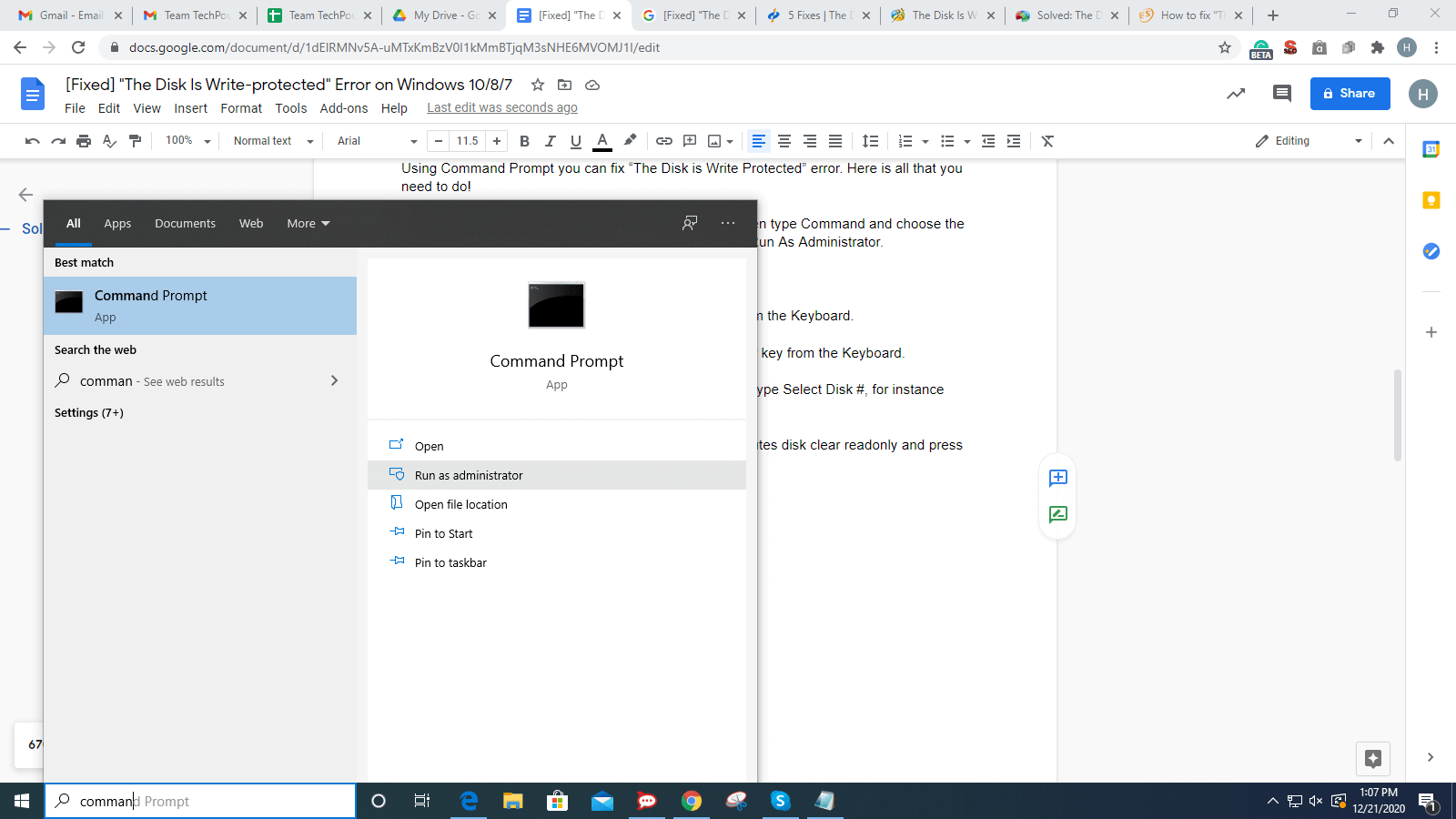 In Search Box Type Command and Select Run As Administrator