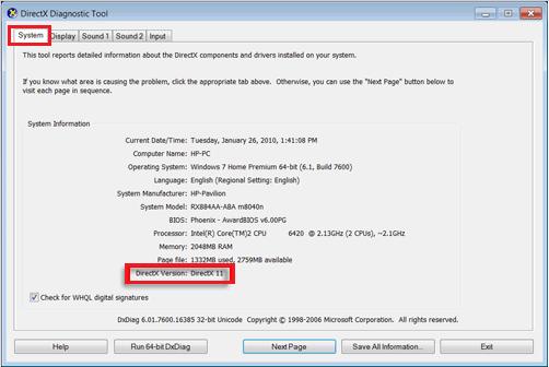 Confirm and Check Current DirectX Version
