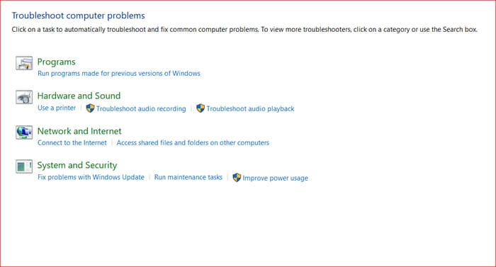 Troubleshooting option and then click on Hardware and Sound