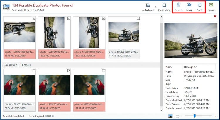 delete option to remove all the duplicate images