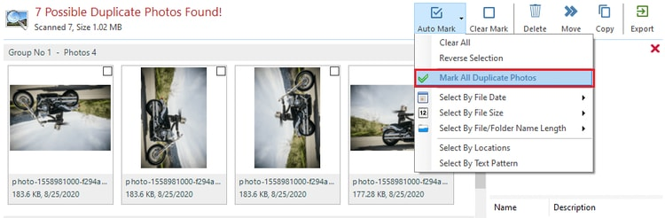 choose mark all duplicate photos