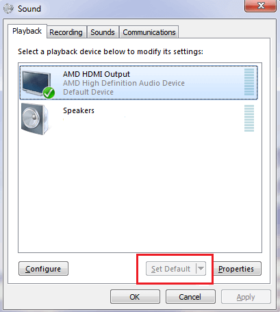Click On AMD High Definition Audio Device