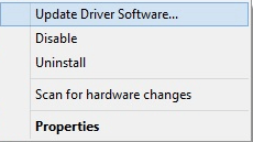 Choose Update Driver Option From The List