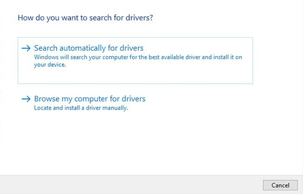 Search Automatically for Drivers option
