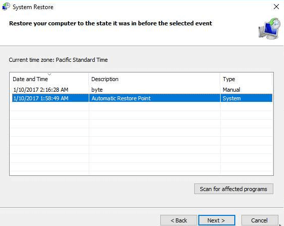 Select Restore Point Based On Date and Time