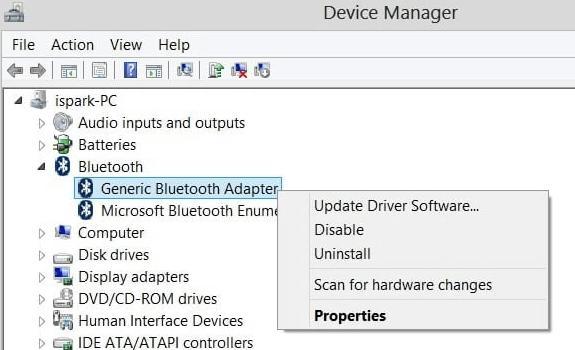 Click Right On Generic Bluetooth Radio Driver