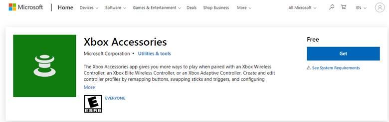 Xbox Accessories app download screen
