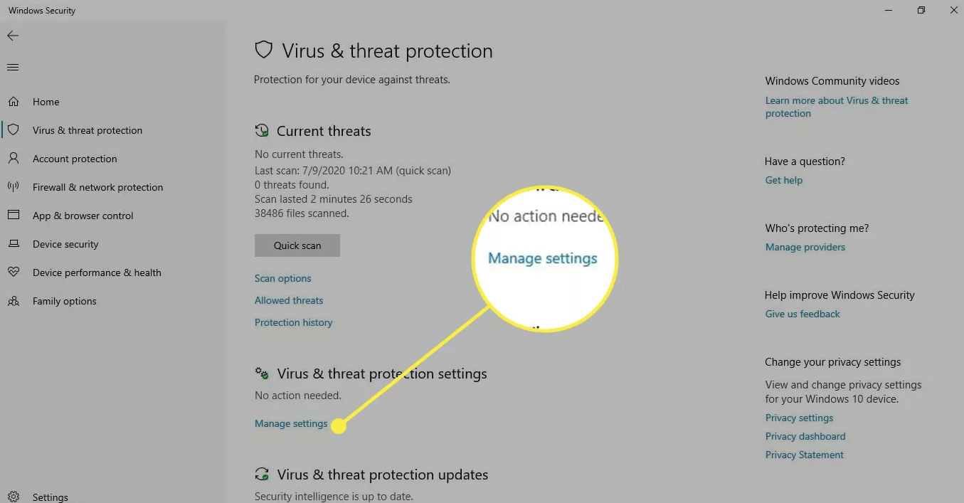 Under Virus & Threat Protection Choose Manage Settings