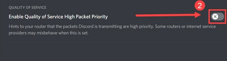 enable quality of service high packet priority