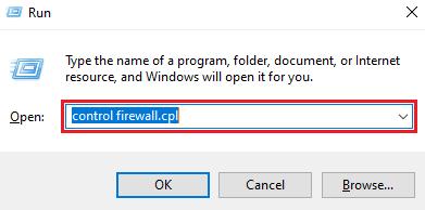 type control firewall.cpl in run