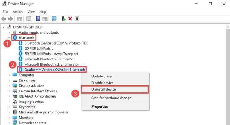 uninstall bluetooth device driver