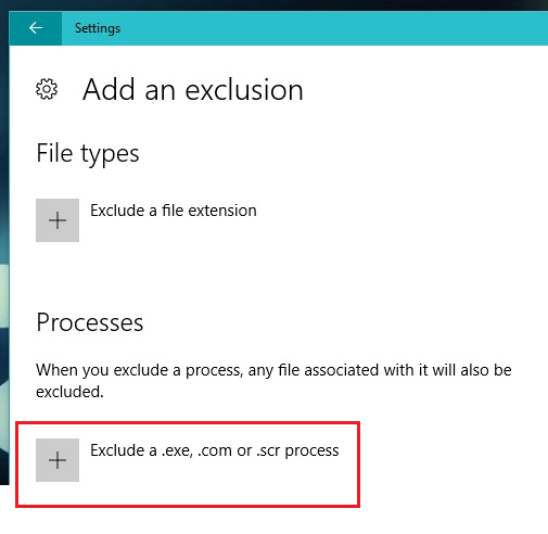 add exclude process