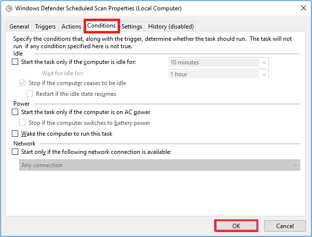 condition tab for windows defender scheduled task