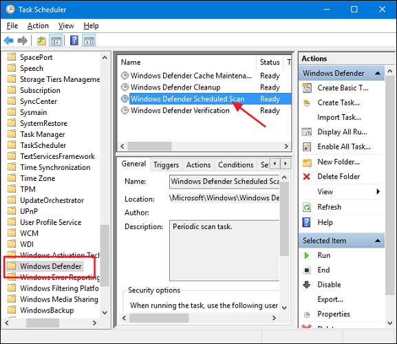 double click on Windows Defender Scheduled Scan