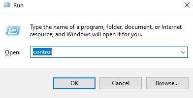 Type Control in Run Window