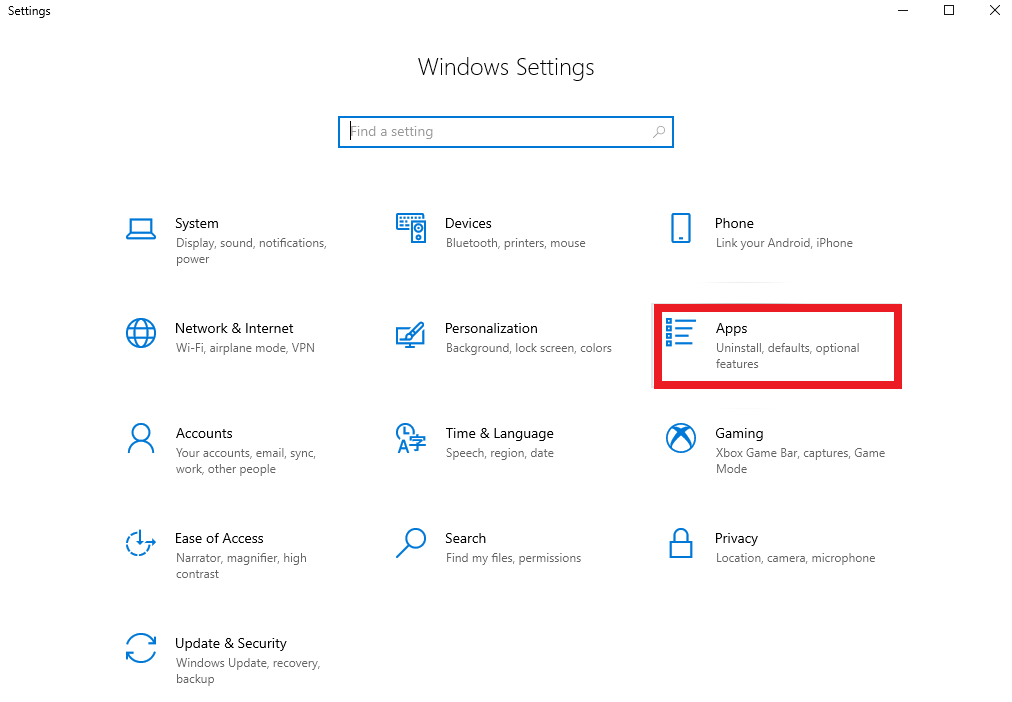 Choose apps from Windows Settings