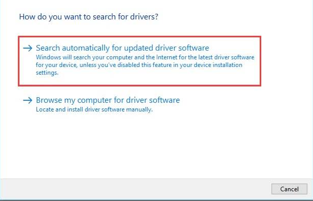 Select 'Search Automatically For Updated Driver Software'