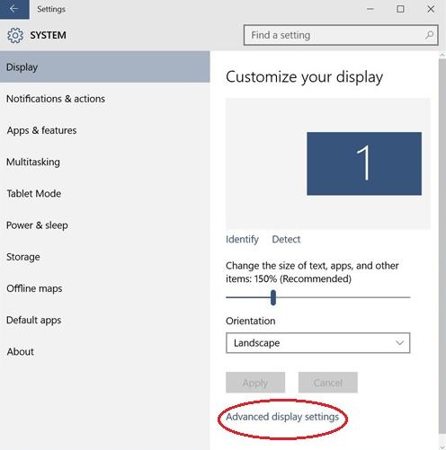 Windows Advance Display Settings