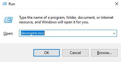 Type devmgmt.msc in Run Dialog box