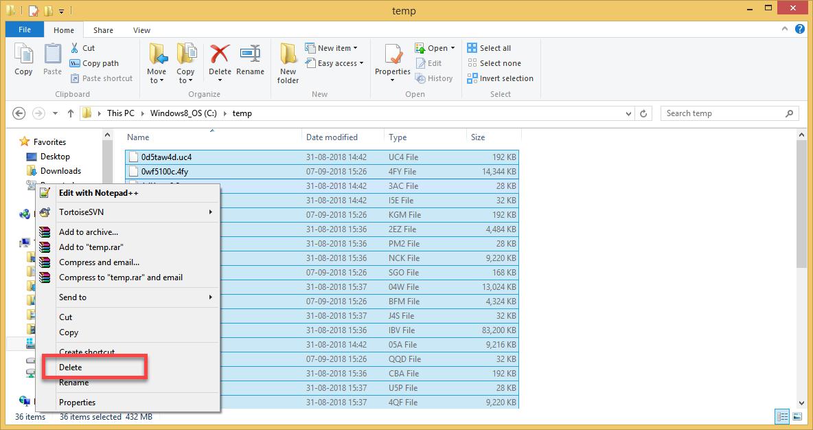 Temporary file windows