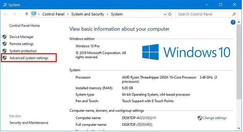 Windows Advanced system setting