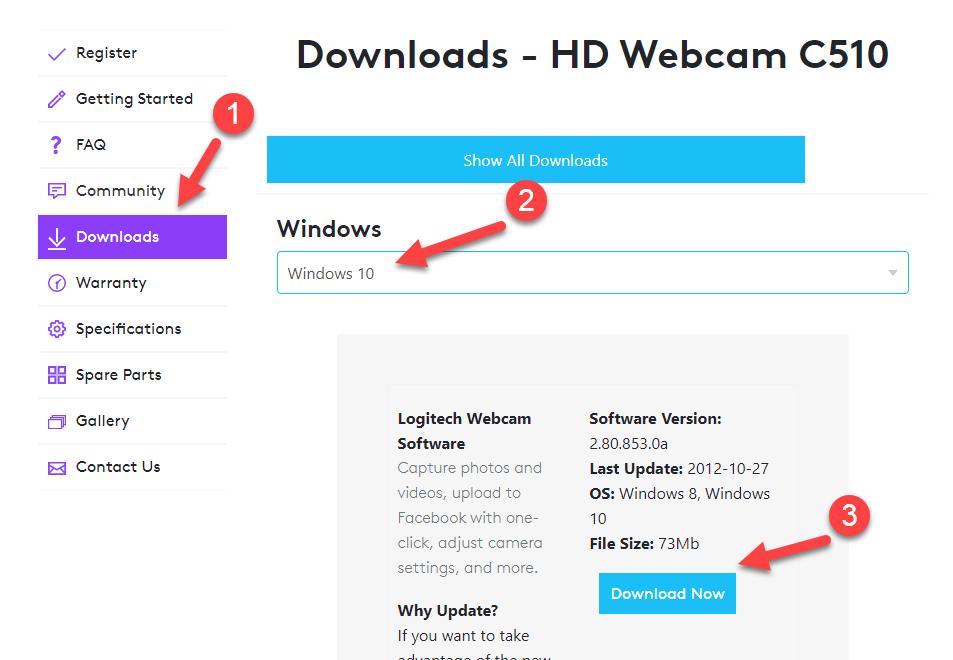 HD Webcam C510 Download