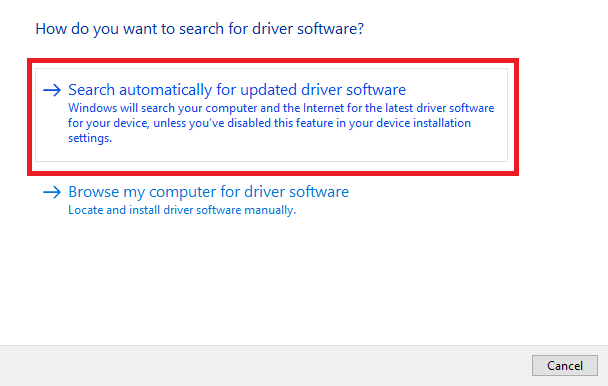 Search Automatically for the Updated Driver Software