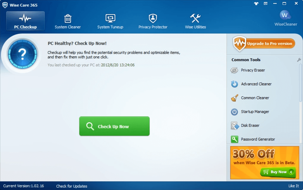 Wise Care 365 software for Optimize Windows PC