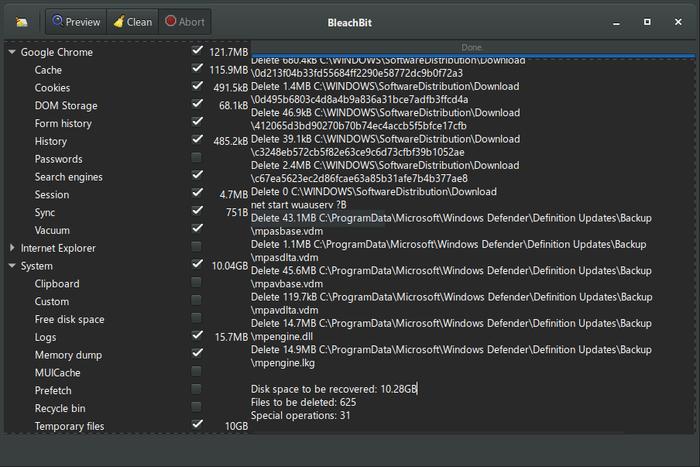 BleachBit software for Optimize Windows PC