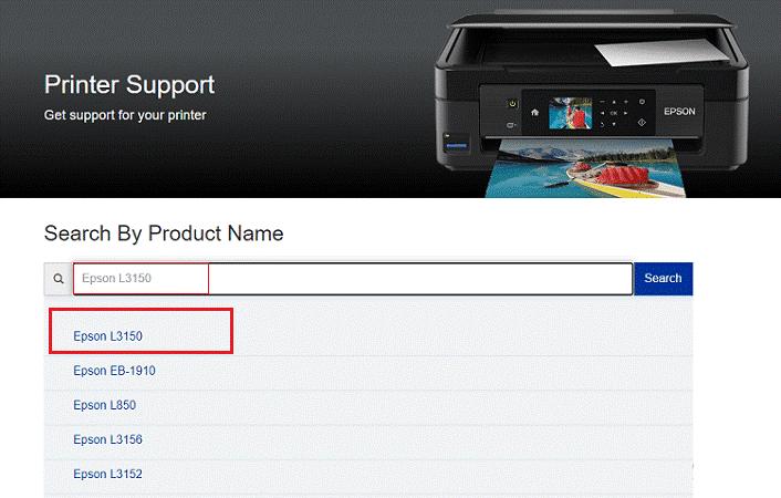 Epson printer support window