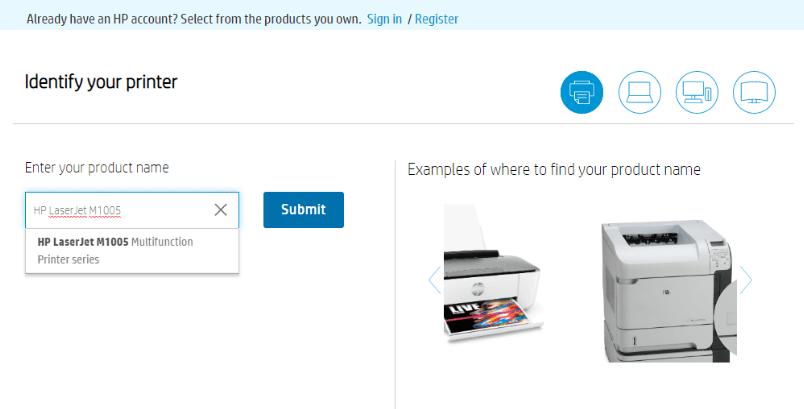 Enter HP LaserJet M1005 Product Name