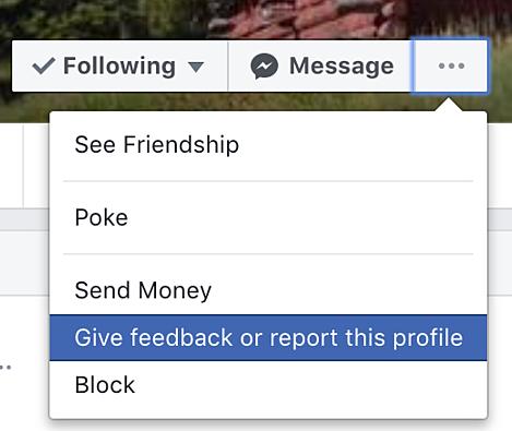 Facebook feedback option window