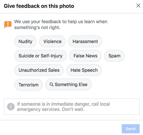 Facebook feedback window