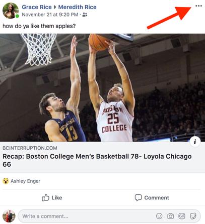 Facebook user post window