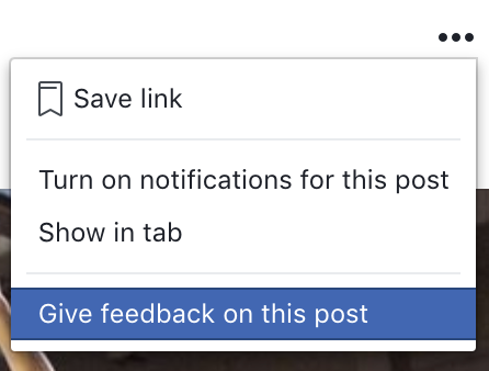 Facebook feedback post window