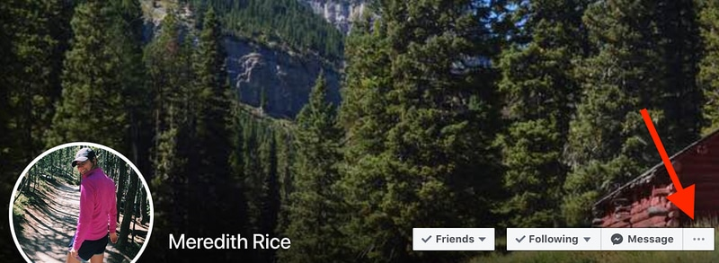 locate the three-dots icon from facebook profile